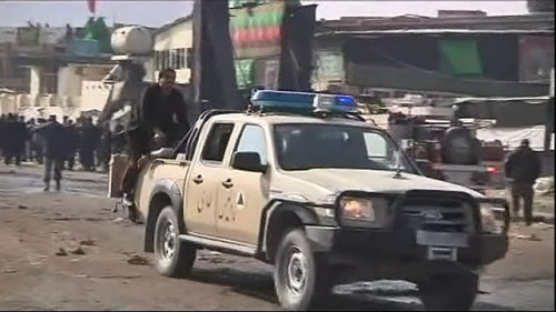 Местная полиция на месте трагедии в Афганистане
