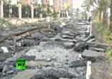 Дорога в Китае после подземного взрыва. Кадр RT