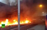 Место крушения вертолёта в Лондоне сразу после аварии. Кадр RT