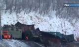 Крушение поезда в Иркутской области. Кадр РИА Новости