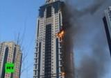 Пожар в небоскрёбе Олимп. Чечня, Грозный. Кадр RT