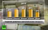 Доверие населения к Евросоюзу в 2013 году. Кадр RT