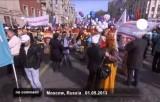 Первомайские шествия в России. Кадр Euronews