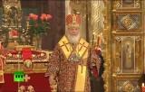 Патриарх Кирилл на праздничном пасхальном богослужении в Храме Христа Спасителя. Кадр RT