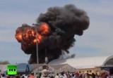 Взрыв упавшего самолёта на авиашоу в Мадриде. Кадр RT