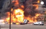В Алма-Ате сгорел бензовоз. Кадр Euronews
