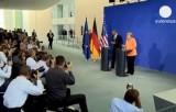 Встреча Барака Обамы и Ангелы Меркель. Кадр Euronews