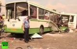 Протараненный грузовиком автобус в Москве. Кадр RT