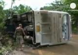 Автобус с россиянами перевернулся в Таиланде. Кадр Euronews