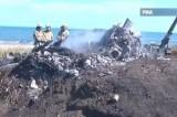 Крушение научного вертолёта Ми-2 на Сахалине. Кадр РИА Новости