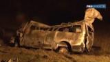Сгоревший микроавтобус под Самарой. Кадр РИА Новости