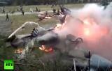 Крушение вертолёта Ка-52 в Москве. Кадр RT