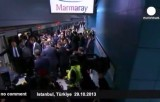 Открытие туннеля Мармарай в Стамбуле. Кадр Euronews