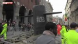 Подводная лодка в центре Милана. Кадр LifeNews
