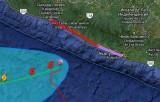 Ураган Рэймонд подходит к берегу Мексики. Снимок с Google Maps / RSOE EDIS