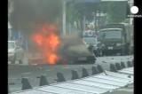 Горящая машина, пробившая заграждения на площади Тяньаньмэнь в Китае. Кадр Euronews