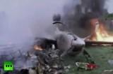 Горящие обломки самолёта в Боливии. Кадр RT