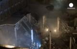 Разрушенный торговый центр Maxima в Риге. Кадр Euronews