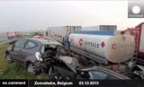 Из-за тумана в Бельгии столкнулись более 100 машин. Кадр Euronews