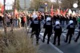 Демонстрация против мер жёсткой экономии в Брюсселе. Кадр Euronews