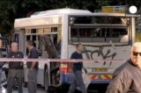 Подорванный автобус в Тель-Авиве, Израиль. Кадр Euronews