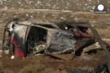 Останки машины, на которой подорвались смертники в Ливане. Кадр Euronews