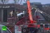 Башенный кран в Германии упал на супермаркет. Кадр RT