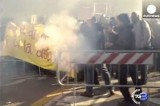 """Протест с вилами в руках"" в Италии. Кадр Euronews"