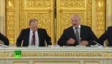 Владимир Путин и Александр Лукашенко на заседании Госсовета Союзного Государства. Кадр RT
