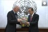 Пан Ги Мун получил доклад ООН о химатаках в Сирии. Кадр Euronews