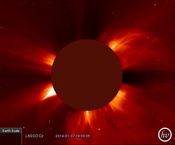 Солнечная вспышка 7 января 2014. Съёмка SOHO LASCO C2 / helioviewer.org