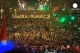 Акция протеста басков в Бильбао. Кадр Euronews