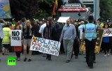 Протест против фрекинга (гидроразрыва пластов) в Великобритании. Кадр RT