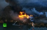 Пожар на острове Кимбелл в Калифорнии. Кадр RT