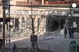 Взорванное отделение банка в Будапеште. Кадр Euronews