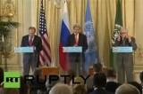 Пресс-конференция Сергея Лаврова, Джона Керри и Лахдара Брахими. Кадр RT RUPTLY
