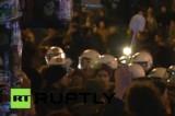 Протест с туалетным ёршиком в Гамбурге. Кадр RT RUPTLY