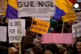 Сторонницы аборта в Брюсселе. Кадр Euronews