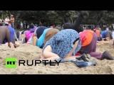Жители Новой Зеландии зарыли головы в песок, призывая правительство бороться с изменением климата