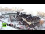 Сгоревшее здание библиотеки ИНИОН с высоты птичьего полета